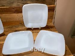 Set of 7, Vintage Fire King Azurite Charm Square Dinner Plates 9 1/4