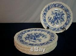 Set of 8 Antique Wedgwood Dinner Plates. Cornflower Blue. Perfect. England