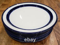 Set of 8 Noritake Stoneware FJORD Blue Stripe - Dinner Plates Plate Set