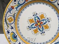 Set of 8 Vintage Grazia Deruta Italy Dinner Plates 9 5/8 Blue Yellow Majolica