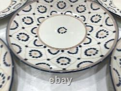 Set of Six (6) THOMAS O' BRIEN VINTAGE MODERN BLUE 11 1/4 Deep Dinner Plates