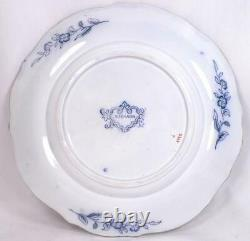 Sobraon Flow Blue Dinner Plate Polychrome Pagoda Flowers Earthenware Antique