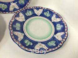 Solimene Vietri Campagna Chicken Dinner Plates Set of Three 10 Blue Red Dots