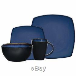 Square 16 Piece Dinnerware Set Kitchen Dishes Bowls Dinner Plates Blue Stoneware