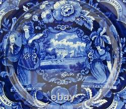 Staffordshire Blue Transferware Liberty & Justice States 10 5/8 Dinner Plate