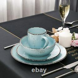 Stoneware Vintage Look Dinner Set L. Blue 16pc Crockery Dining Plates Bowls Mugs