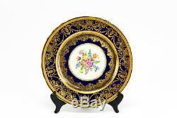 Stunning Aynsley Cobalt Blue & Gold Floral 10.5 Cabinet Dinner Plate (s) 7959