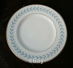 Syracuse China SHERWOOD Set of 6 DINNER PLATES Blue Laurel Wreath on Ivory 10