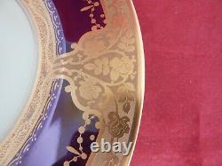 Ten Hutschenreuther, Selb Bavaria Blue And Encrusted Gold Service Or Dinner Plate