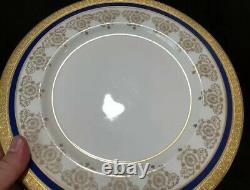 Theodore Haviland Limoges Dinner Plates Gold Encrusted Cobalt Blue Set5 New York