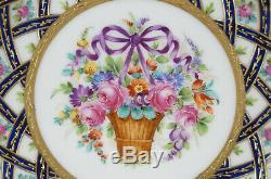 Thieme Dresden Pink Rose Floral Basket Purple Bow Cobalt & Raised Gold Plate D