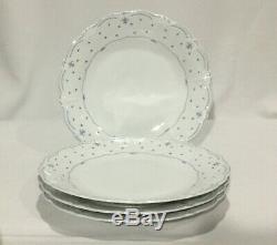 Tirschenreuth Baronesse Fleur De Lis Blue Dinner Plates FOUR 4 10 1/4