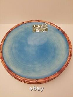 Tommy Bahama Blue 4 Bamboo Trim Melamine Dinner PLates 4 Bowls Serving Bowl Teal