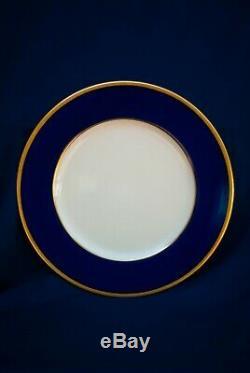 Twelve Matching Antique Lenox Dinner Plates Tuxedo Cobalt Encrusted Gold Rims