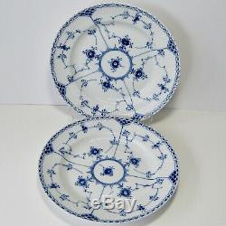 Two (2) Royal Copenhagen Denmark Dinner Plates Blue Fluted Half Lace #571
