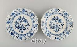 Two antique Meissen Blue Onion dinner plates in hand-painted porcelain