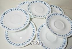 VINTAGE Corelle SNOWFLAKE BLUE GARLAND Set 9 Dinner 5 Dessert 7 Saucer Plates