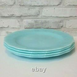 VINTAGE PYREX BLUE DELPHITE PIE CRUST Dinner Plate 9 set of 4