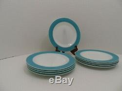 VINTAGE Pyrex White withTurquoise Blue Aqua Rim Dinner Plates USA Lot of 9