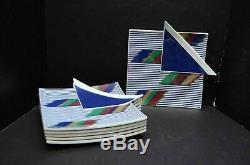VTG Mikasa Color Vibrations VA-102 Dark Blue Dinner Plates Set 6 -1980s