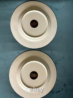 Versace Medusa Blue and Gold Rosenthal Dinner Plates, Set of 4 EUC 10 1/2in