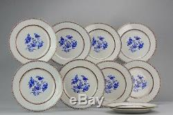 Very Rare Antique Chinese 18th c. Qianlong Period Dinner Plate Qing set of 10