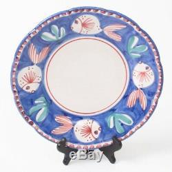 Vietri SOLIMENE Italian Ceramic 3-pc Set Blue Fish Bowl Dinner & Salad Plates