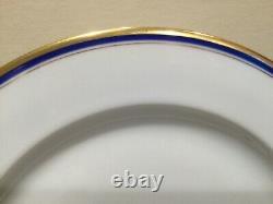 Vignaud Limoges France Set of 8 Gold Cobalt Blue Rim Dinner Plates The Seville
