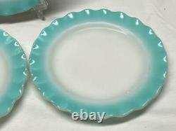 Vintage 9 Piece Hazel Atlas CRINOLINE RIPPLE BLUE 3 Dinner Plates 3 Cups Saucers