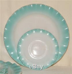 Vintage 9pc HAZEL ATLAS CRINOLINE RIPPLE BLUE 3-Dinner Plates/5-Saucers/1-Cup