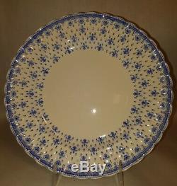 Vintage Antique Spode Blue Fleur De Lys Dinner Plates 10 Set of 6