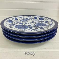 Vintage Bombay China Dinner Plates Cobalt Blue & White Jacobean Floral Set of 4