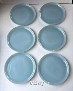 Vintage Fire King Turquoise Blue Delphite 9 Dinner Plates Set of 6 J007