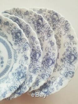 Vintage Lot of 4 Arcopal France Honorine Dinner Plates 10 3/4 Blue & White