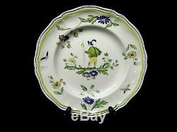 Vintage Moustiers by LONGCHAMP (France) Hand Painted Dinner Plate 10 1/4