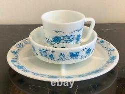 Vintage Pyrex Blue Train Children's Dinner Set Divided Plate, Cup and Bowl