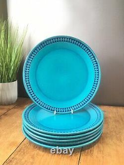 Vintage Set Of 6 Cermano Sapphire Blue Diamond West German Pottery Dinner Plates