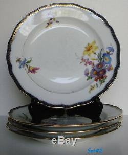 Vintage Set of 8 Meissen Porcelain Dinner Plates Cobalt Trim Floral Motif