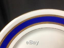 Vintage Set of 8 Robert Haviland Limoges 9&5/8 Dinner Plates Blue & Gold Rim