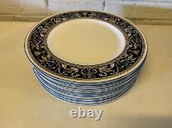 Vintage Wedgwood Florentine Dark Blue & Gold Porcelain Set of 12 Dinner Plates