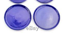 Vintage Wellfleet Pottery Cobalt Blue Set Of Four 10 Dinner Plates Rare