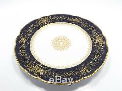 Vintage Wright Tyndale & Van Roden Porcelain Blue Cobalt & Gold 8 Plates, 8 3/4