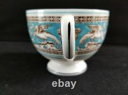 WEDGWOOD Florentine Turquoise Blue W2714 TEA CUP & SAUCER Dragons/Griffins