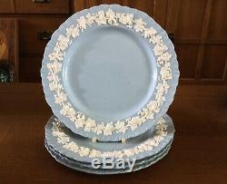 WEDGWOOD Queensware 4 DINNER PLATE S 10 1/8 Shell Edge Cream On Lavender Blue