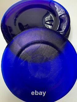 WOW! Set of 12 Vintage Cobalt Blue Glass Dinner Plates 11 NR