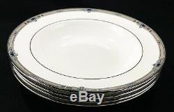 Wedgwood Amherst Platinum Rim Soup Bowls 8 Bone England Near Mint SET(s) OF 4