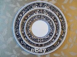 Wedgwood Florentine Cobalt Blue 64 Pieces W1956 Dinner Plates Soup Bowls