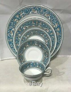 Wedgwood Florentine Turquoise 5 Pc Setting Dinner Plate Salad Cup Saucer No Med