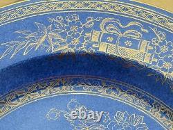 Wedgwood Gilt Blue Lustre Ware Peacock z8542 Plummer & Co 9 Dinner Plate c. 1900
