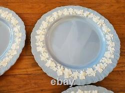 Wedgwood Queensware DINNER PLATES (10) X 4 Cream on Lavender Grapes Shell Edge